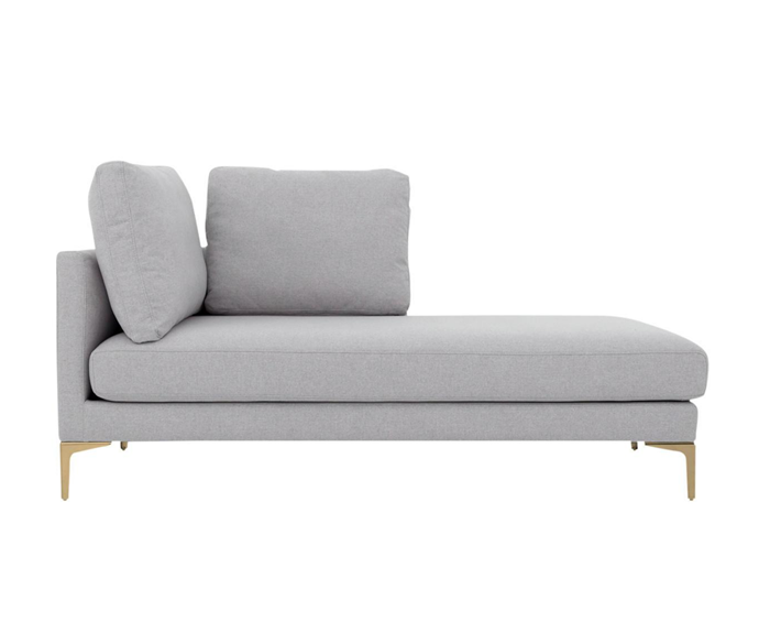 "'Adams' right chaise, $839, [Castlery](https://www.castlery.com.au/products/adams-right-chaise?quantity=1&material=dove_grey&leg_color=gold|target=""_blank""