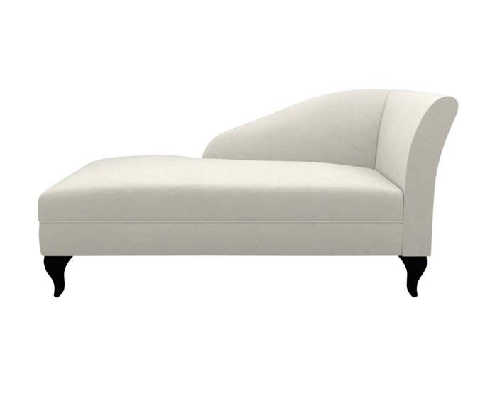 "'Allegra' chaise with polyster upholstery, $1899, [Plush](https://www.plush.com.au/sofa-boutique/allegra-chair|target=""_blank""