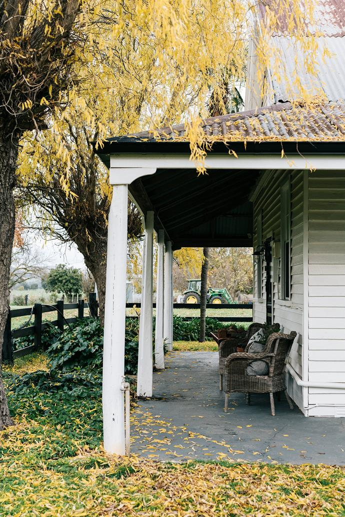 The verandah wraps around the cottage.