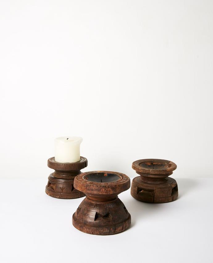 "Bhadra Timber Candle Stand, $49.95, [Moontree](https://moontree.com.au/collections/pillar-candle-holders/products/bhadra-timber-candle-stand|target=""_blank""