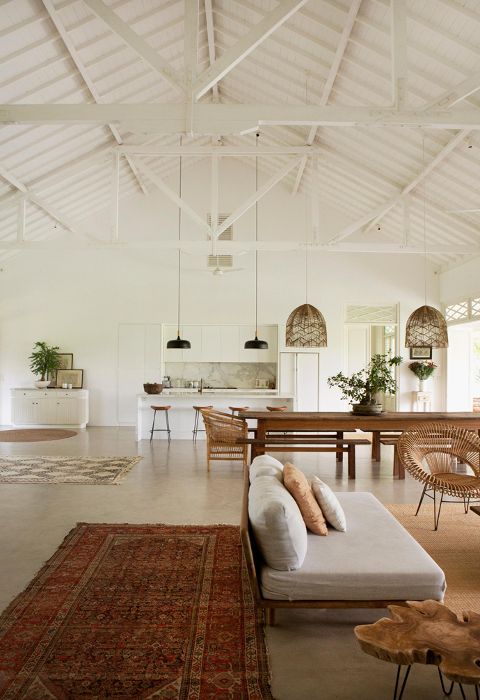 "This expansive open-plan living area is homeowner Magali Pascal's favourite room in the house. ""The light is magical in the morning and on a clear day, you can see Mount Agung across the rice fields,"" she says."