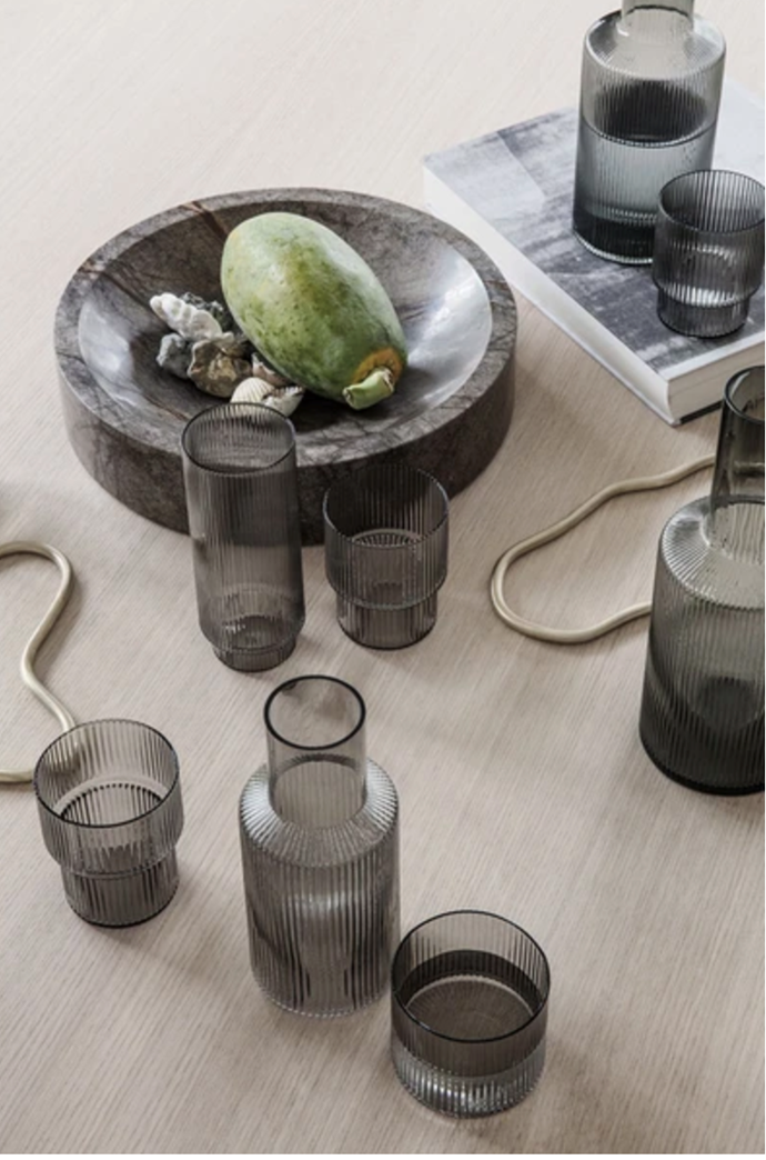 Ferm Living Ripple Carafe Smoked Grey, $79, Arrival Hall