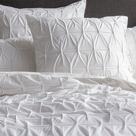 "CROSS Pleat Pillowcase Euro White, $39, [Freedom](https://www.freedom.com.au/bedroom/bedding/all-bedding/24138178/cross-pleat-pillowcase-euro-white?reflist=Product%20Search%20Listing|target=""_blank""