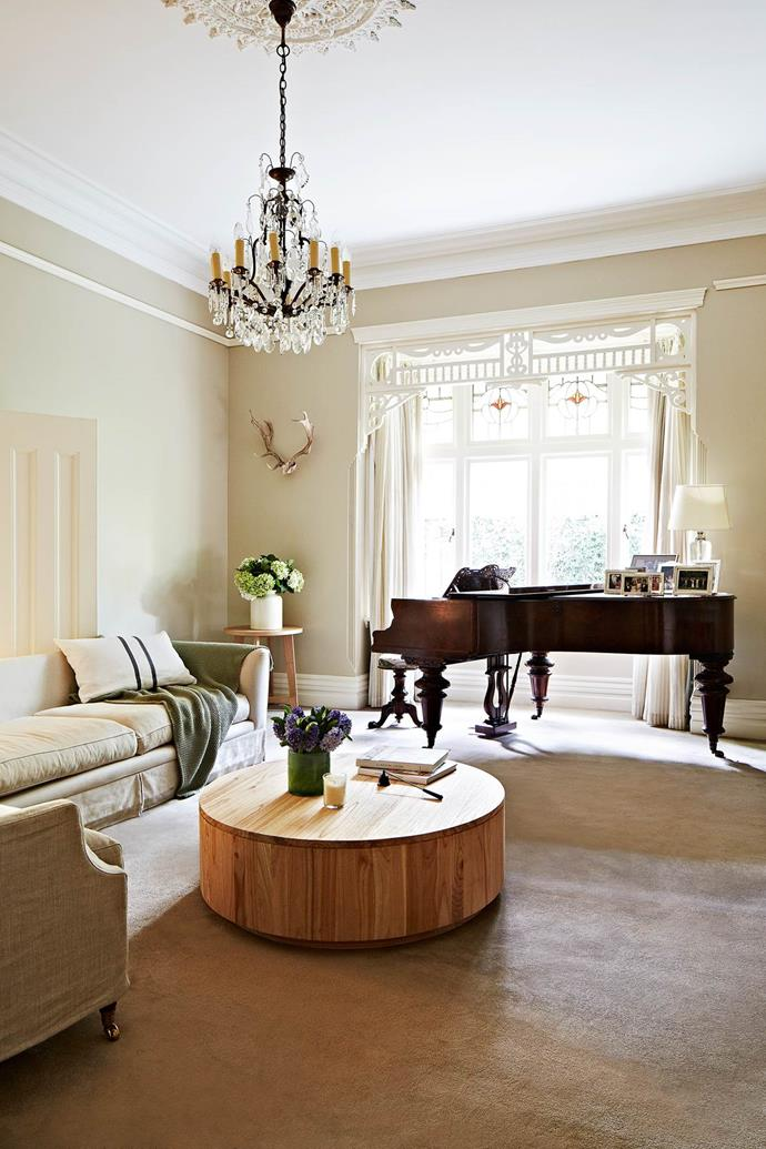 """The antique grand piano fits perfectly with this [Federation villa's](https://www.homestolove.com.au/federation-villa-enters-the-21st-century-3470