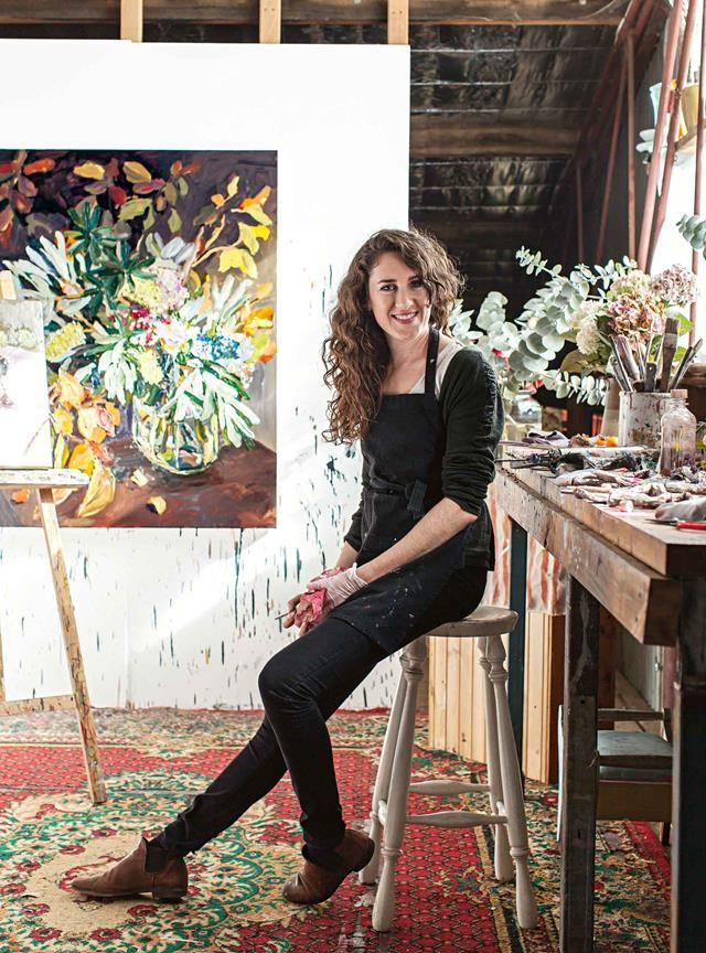 """Laura Jones once worked for a florist but now the painter is surrounded by natural inspiration in the [weatherboard cottage she rents in the village of Exeter](https://www.homestolove.com.au/laura-jones-artist-12262