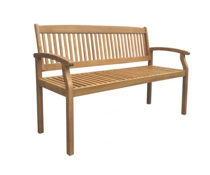 "Mimosa Hampsted Timber Bench, $199, [Bunnings](https://www.bunnings.com.au/mimosa-130cm-hampsted-timber-bench_p3192153|target=""_blank""