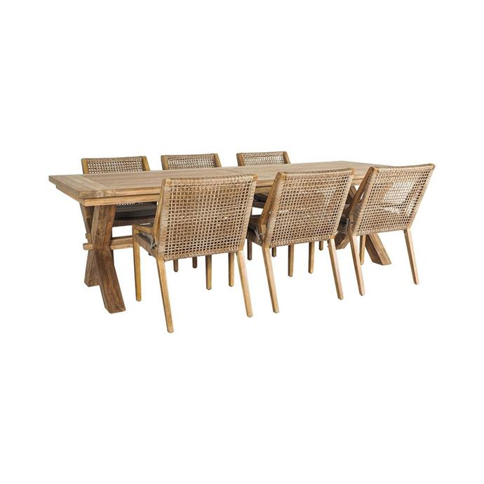 "Reclaimed Teak Cross Leg Table with 6 Weave Dining Chairs, $3593, [Early Settler](https://www.earlysettler.com.au/reclaimed-teak-cross-leg-table-2600x100mm-with-6-weave-dining-chairs-package|target=""_blank""