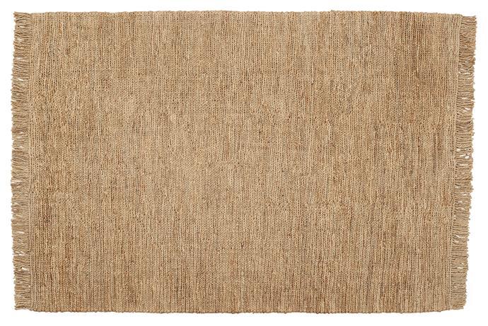 "Sahara jute rug in Natural (1.7m x 2.4m), $1390, [Armadillo & Co](https://armadillo-co.com/product/sahara-weave/|target=""_blank""|rel=""nofollow"")."