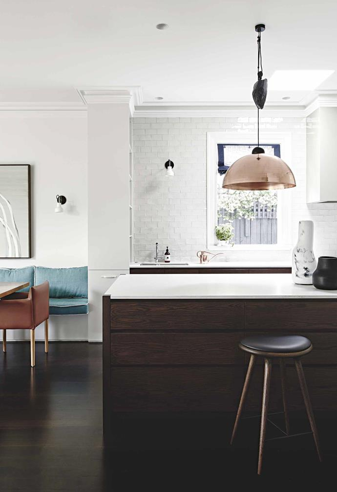 "**Kitchen**  ""When the couple said they liked to cook together, it gave me such insight into their relationship,"" says interior designer Chelsea Hing. The adjustable 'Up-Down' light from [Ben-Tovim Design](https://www.b-td.com/