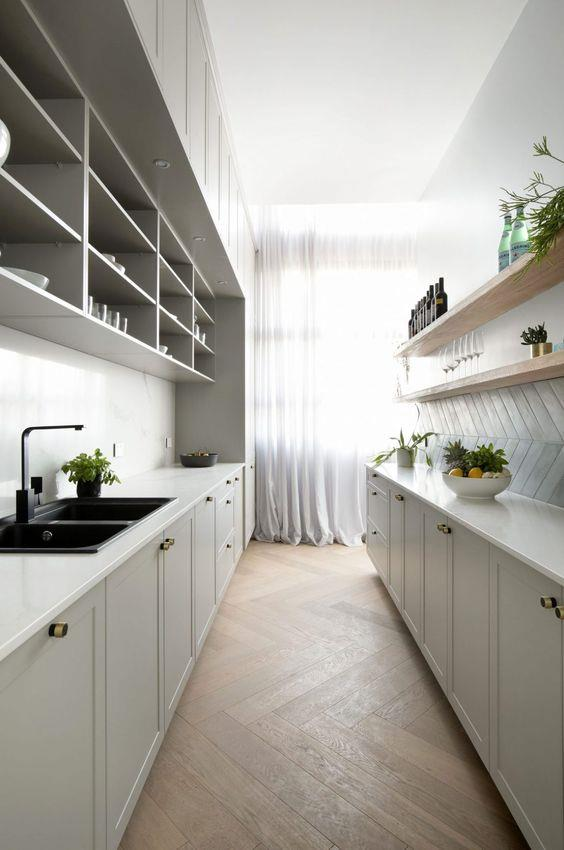 "Floor length curtains and herringbone tiles add an element of sophistication, along with neat storage shaker cabinets in this large [grey-hued butler's pantry from The Block](https://www.pinterest.com.au/pin/65443000821667845/?nic_v1=1a0aURmHTDD7WNWkgPI8KPj1l%2B3wDaZ0zGBD5J04v86e%2BjbzaL6njMMK5MgmfrWYdW|target=""_blank""
