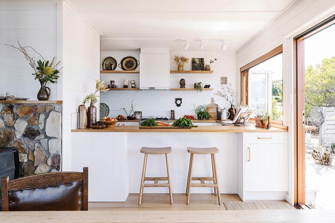 The Daniells used Tasmanian oak for the kitchen counter tops, and the Odd stools are from The Living Room in Launceston.