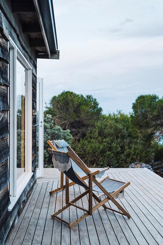 French doors lead onto the deck overlooking the ocean.