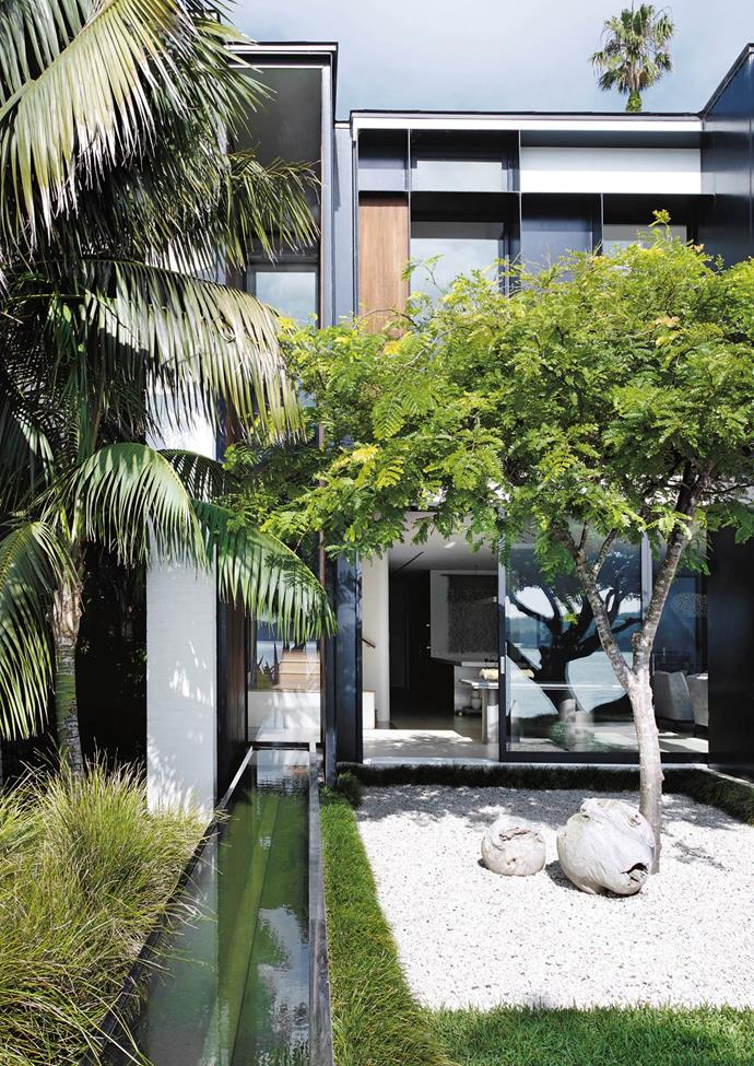 The horizontal surfaces in this garden designed by William Dangar reflect some of the regimentation of the architecture - a plane of grass, a Japanese courtyard of white Cowra pebbles, the rectangular pool of aqua water.