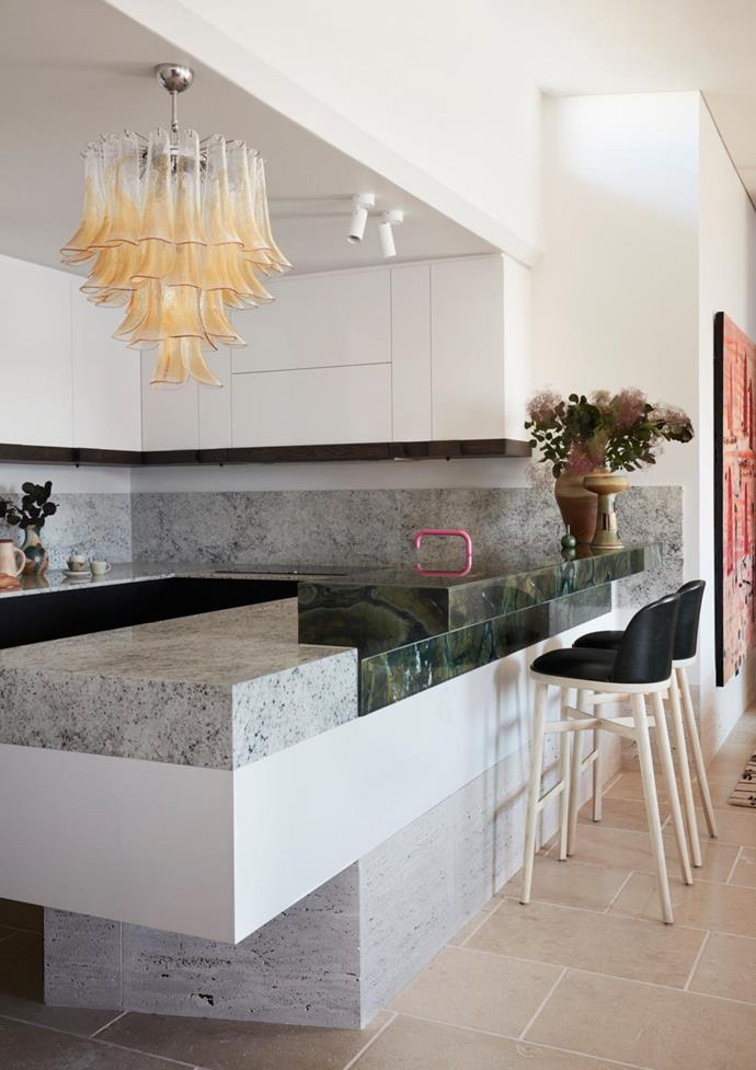 In the kitchen, vintage 'Sella Piccolo' hand-blown Murano glass chandelier from The FM Gallery.