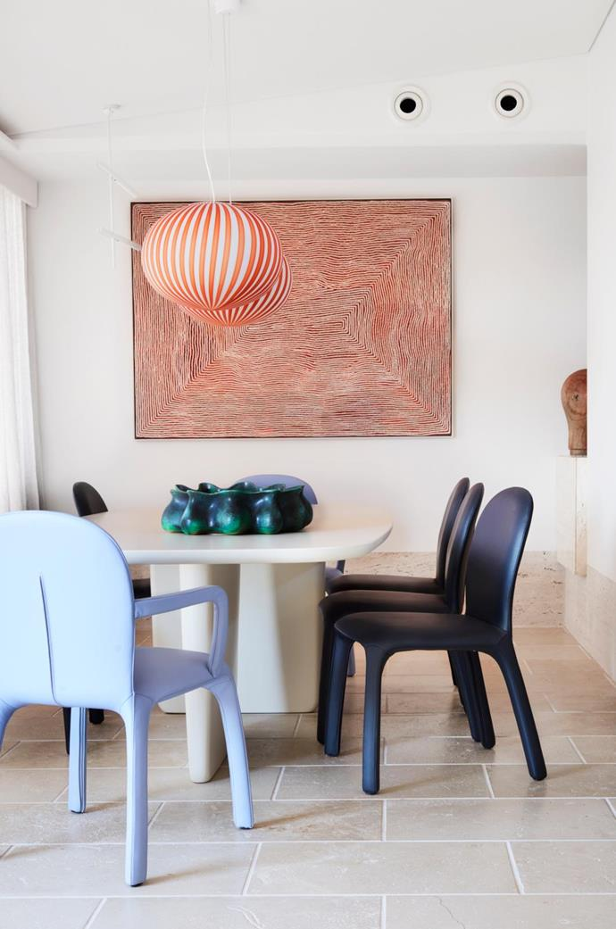 In the dining area hangs an artwork by Warlimpirrnga Tjapaljarri.