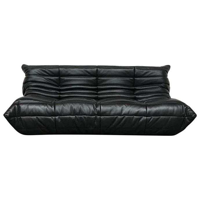 """French Large Togo Sofa in Black Leather by Michel Ducaroy for Ligne Roset, $5,381.93, [1st dibs](https://www.1stdibs.com/furniture/seating/sofas/french-large-togo-sofa-black-leather-michel-ducaroy-ligne-roset/id-f_19015582/?&currency=aud&gclid=CjwKCAjwsan5BRAOEiwALzomXzOx-Y6Kkp0sv-FTsusrxKwp_Z5tedbAaPxknQXjqtqoOq1M-K30mhoC0pMQAvD_BwE&gclsrc=aw.ds