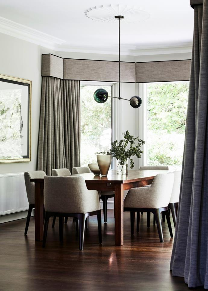 Bryant dining chairs, Boyd Blue. Existing table. Line 02 pendant light, Douglas & Bec.