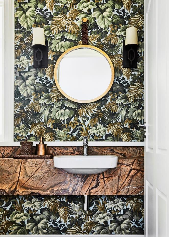 Martyn Lawrence Bullard 'Royal Fernery' wallpaper, Radford. Marble, Nefiko. Mirror, Domo.