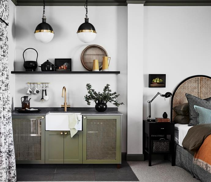 Serena cane bedhead, Naturally Cane. Bedside table and pendant lights, Bloomingdales Lighting.