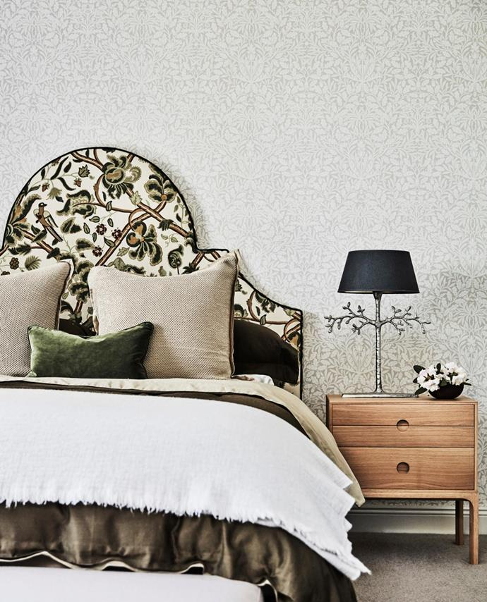 Custom bedhead in Lee Jofa Bloomsbury Forest fabric by Oscar de la Renta, bedlinen and cushions, all Studio Kate. Happy Olivier table lamp, Domo.