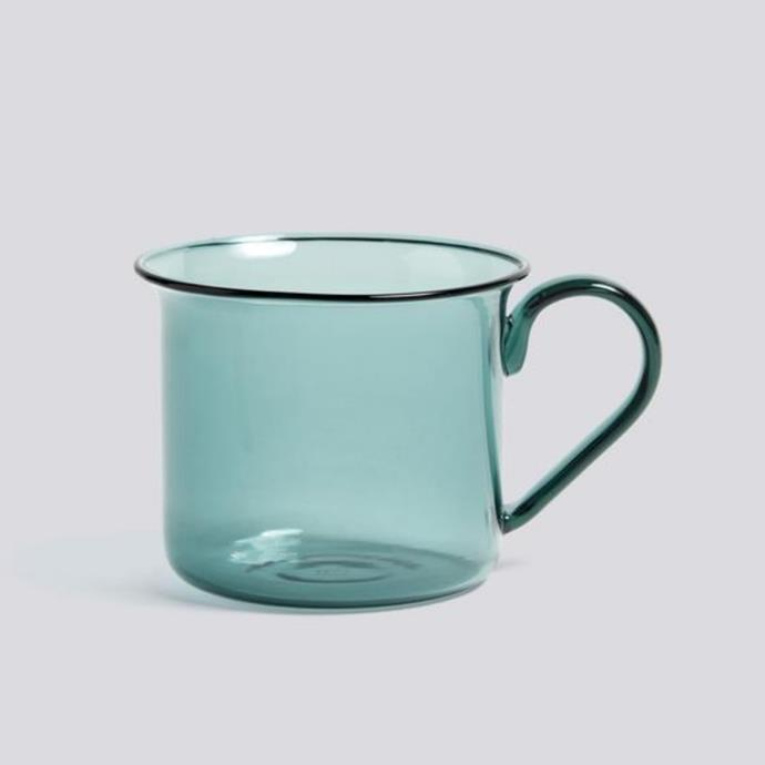 "Borosilicate cup, $45, [HAY](https://hayshop.com.au/collections/kitchen-market/products/borosilicate-cup-aqua|target=""_blank""|rel=""nofollow"")"