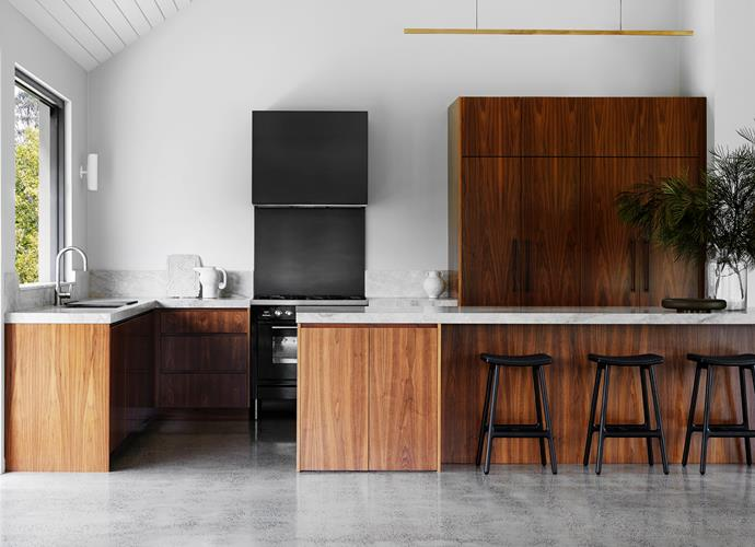 Highline pendant light, Rakumba. Door hardware, Pittella. Tobi stools, MCM House. Freestanding cooker, Ilve. Tapware, Winning Appliances. Large open-neck vase, Phoebe Nicol Interior Architecture.