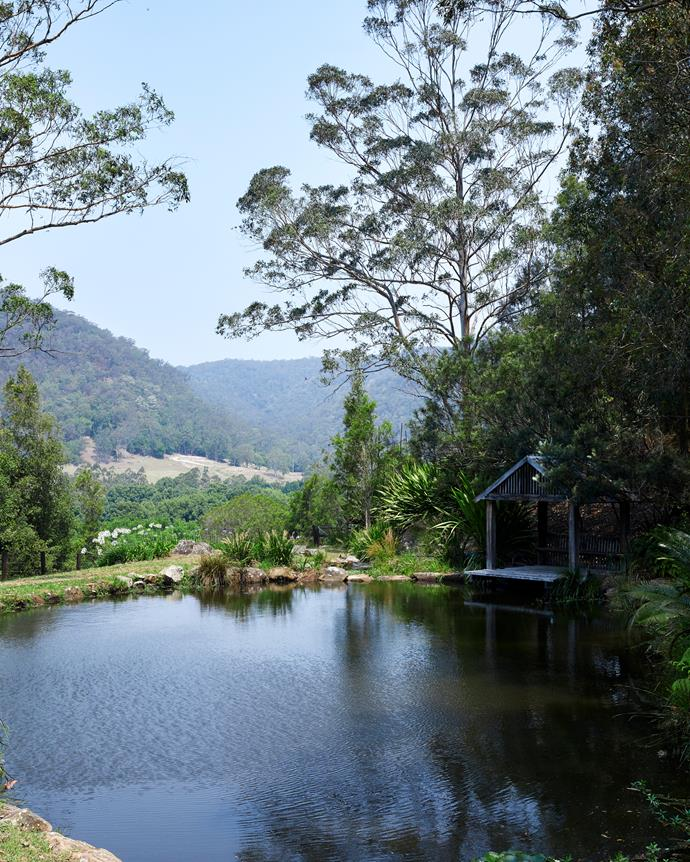 A picturesque on-site dam is one of the property's assets.