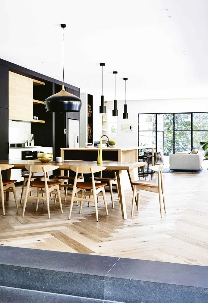 "Timber flooring laid in a herringbone pattern adds a refined touch to this [revamped Scandi-style Victorian villa](https://www.homestolove.com.au/historic-victorian-villa-renovation-17941|target=""_blank"")."