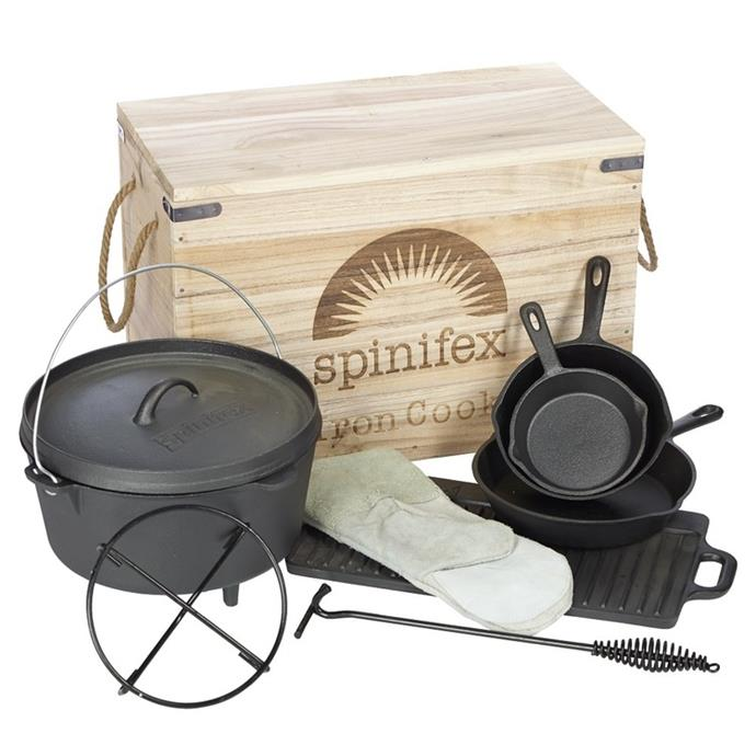 "Spinifex Cast Iron Wood Crate Cook Set, $199, [Anaconda](https://www.anacondastores.com/camping-hiking/camp-cooking/cast-iron/spinifex-cast-iron-wood-crate-cook-set/90003866|target=""_blank""