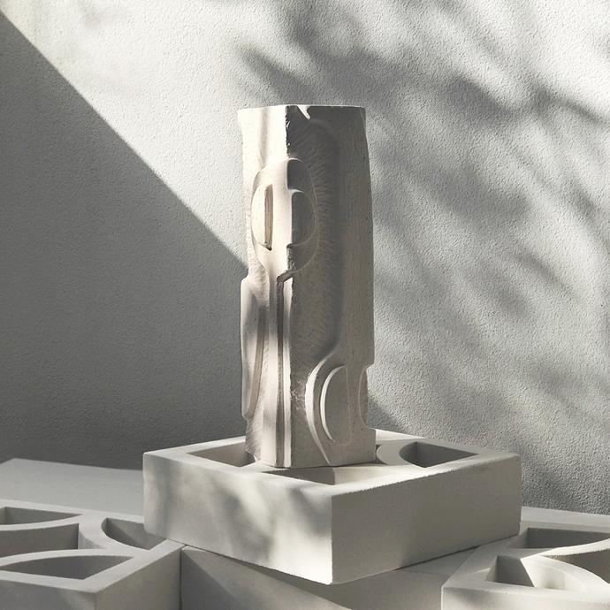 """Abstract Relief Totem in White Sculpture Clay by Jan Vogelpoel, $720, [Modern Times](https://www.moderntimes.com.au/shop/objects-design/ceramics/abstract-relief-block-in-white-sculpture-clay-by-jan-vogelpoel/ target=""""_blank"""" rel=""""nofollow"""")"""