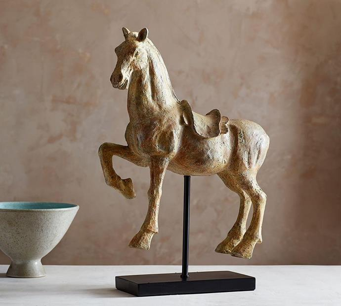 """Horse On Stand, $199, [Pottery Barn](https://www.potterybarn.com.au/standing-horse-object target=""""_blank"""")"""