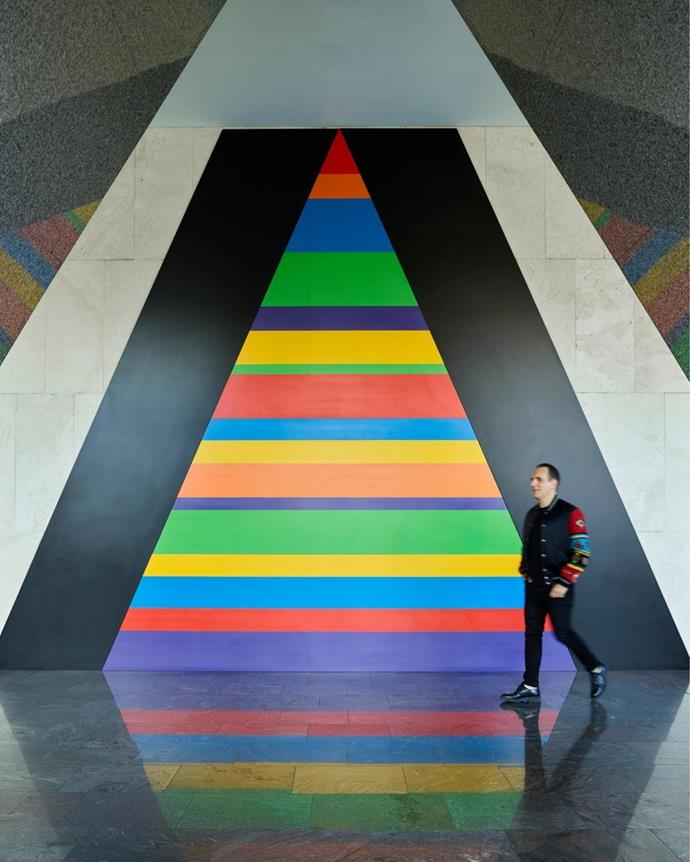 Greg walks through the lobby of the Horizon building by Harry Seidler where a large-scale artwork by Sol LeWitt is installed.