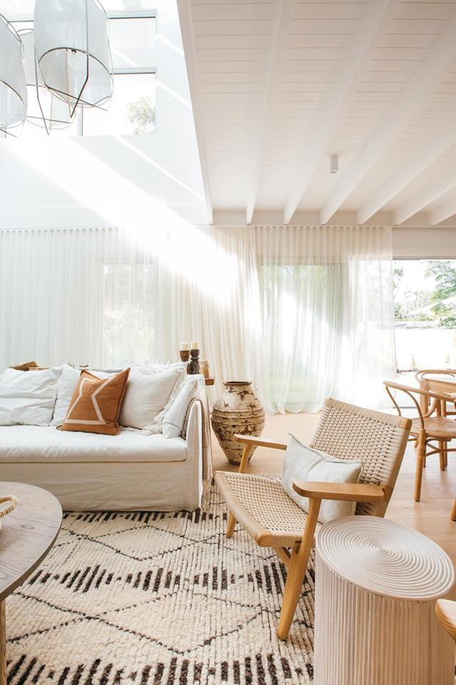 """Kyal and Kara's [living room](https://www.homestolove.com.au/kyal-and-kara-new-home-21483
