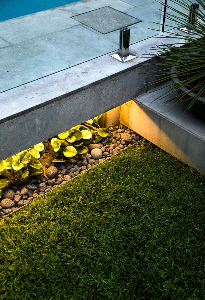 **Float the idea** Outdoor-rated LED strip lights give the pool its 'floating' look at night and highlight the plants and pebbles beneath.