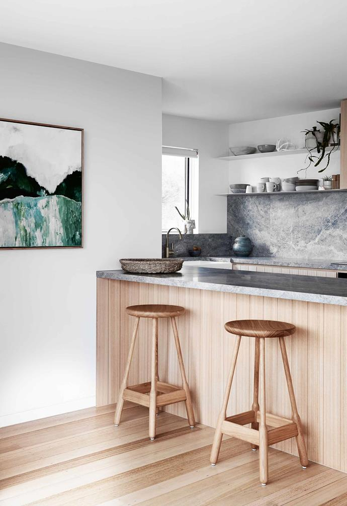 "*Kitchen** The once-dingy kitchen has been transformed with a silver ash marble benchtop and splashback. Albert bar stools, [In Good Company](https://ingoodcompany.com.au/|target=""_blank""