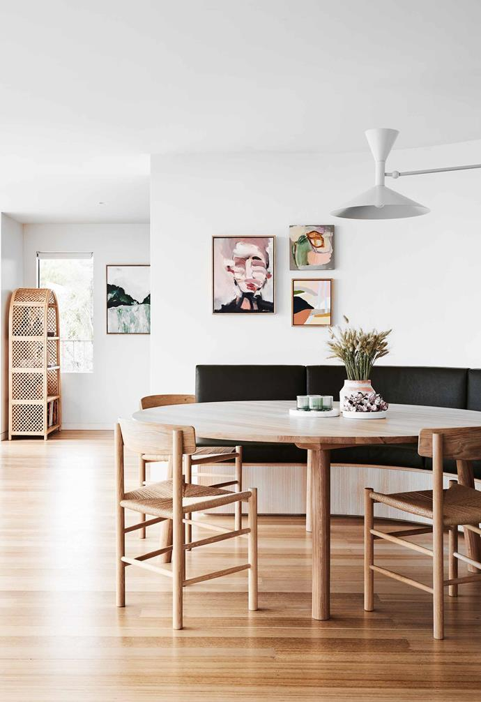 "**Dining** The centrepiece is a curved leather banquette with a view. For an ambient light at night, the Lampe de Marseille from [Cult](https://cultdesign.com.au/|target=""_blank""