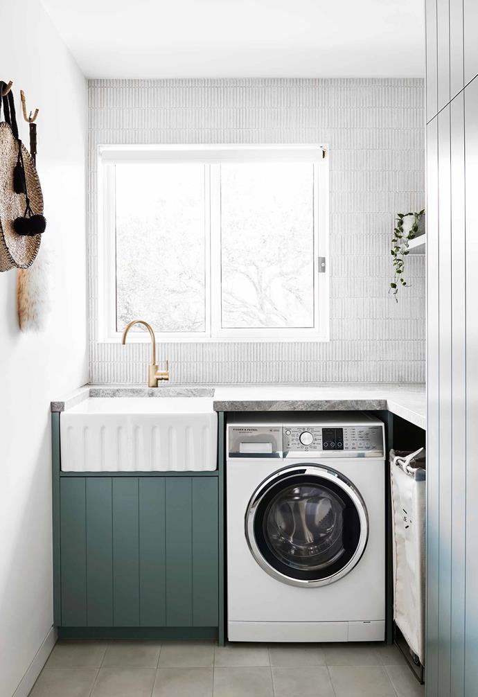 "**Laundry** After tweaks to the configuration, the laundry was upgraded with Inax 'Yemen' wall tiles from [Artedomus](https://www.artedomus.com/|target=""_blank""