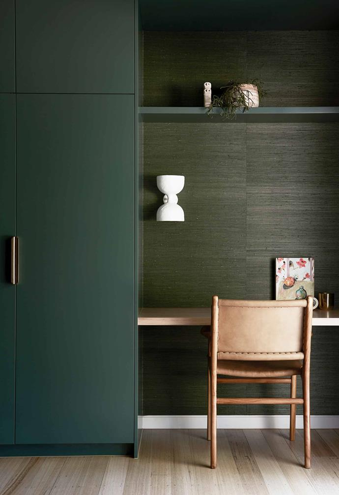 "**Guest room** Green is Angela's favourite colour, indulged only in this space. The custom joinery is painted [Dulux](https://www.dulux.com.au/|target=""_blank""