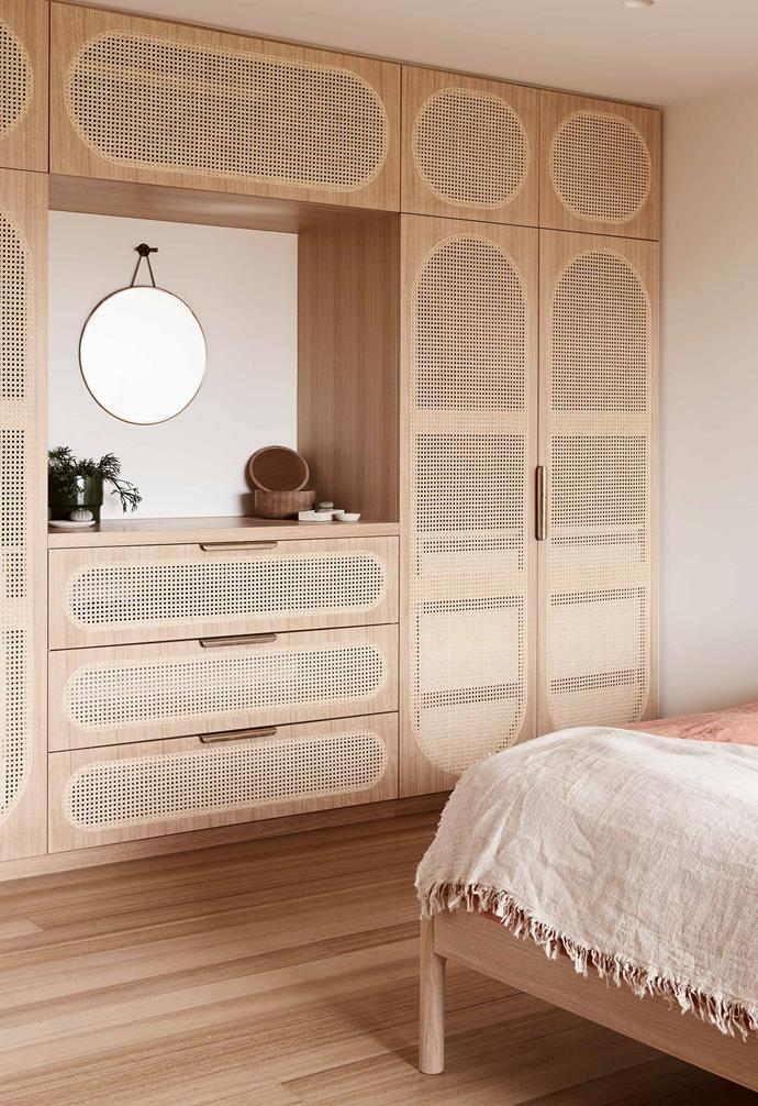 "**Main bedroom** The custom wall unit with rattan panels was made using traditional methods. Porthole mirror, [The Society Inc](https://thesocietyinc.com.au/|target=""_blank""