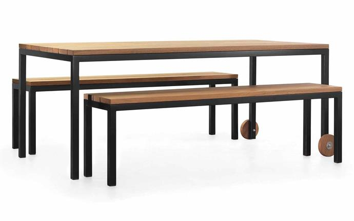This family friendly option has the bonus of sturdy spotted gum. 'Linear' dining setting, $7440/set, [Tait](https://madebytait.com.au/product/linear-dining/).