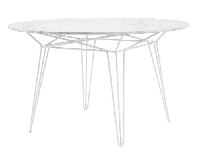Hairpin legs and a marble top make for a classic patio setting. SP01 'Parisi' table, $3605, [Space Furniture](https://www.spacefurniture.com.au/products/sp01-parisi-table-white-carrara-honed-marble).