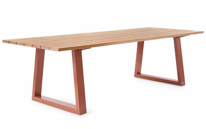 A pop of colour from a powder-coated metal base and the blackbutt surface make this a top choice. 'Locator' outdoor table, $4850, [Mark Tuckey](http://www.marktuckey.com.au/furniture/locator-outdoor/).