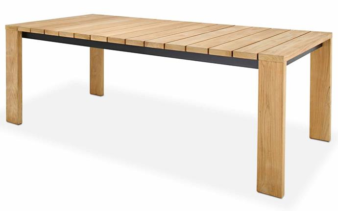 Teak outdoor furniture never fails, and the galvanised steel frame is a neat industrial touch. 'Bronte' dining table, $2799, [Eco Outdoor](https://www.ecooutdoor.com.au/).