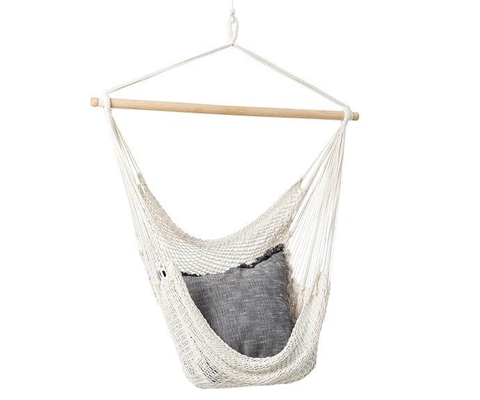 Time to hang out! 'Sway' hammock chair, $79.90 (excludes cushion), [Citta](https://www.cittadesign.com/).