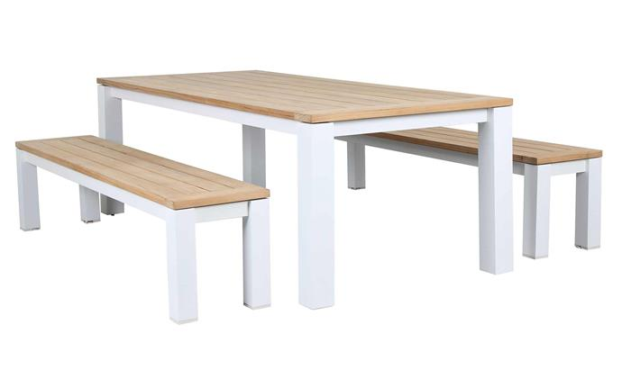 """A versatile and classic set that's sure to match any home's style. Casa Teak 3 piece dining table and bench set, $1097, [Razzino Furniture](https://razzinofurniture.com.au/collections/outdoor-dining/products/casa-teak-3pc-dining-table-bench-set-matte-white