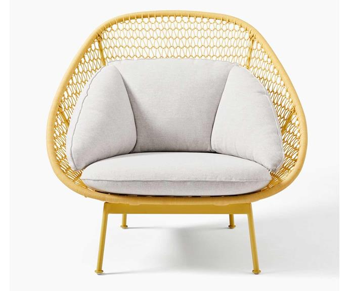 The vibrant pop of yellow in the frame of this outdoor armchair adds instant energy. Paradise outdoor lounge chair, $1399 (includes cushion), [West Elm](http://www.westelm.com.au/).