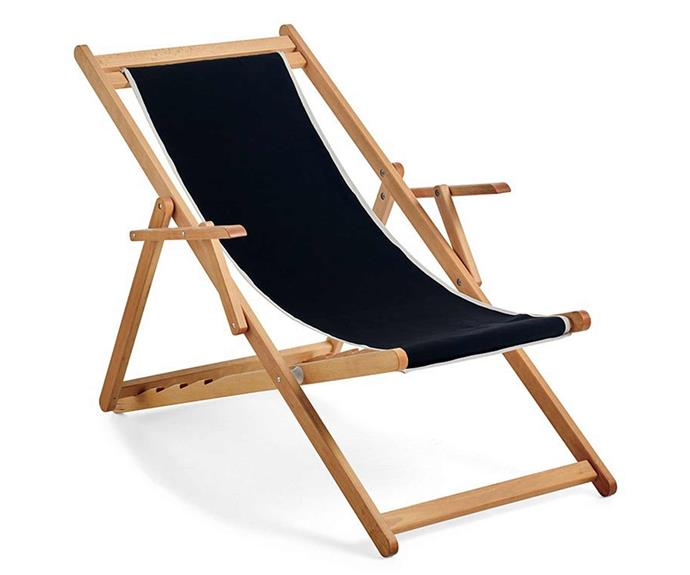 """Basic is bliss, and the head cushion is a comfy bonus. 'Beppi' sling chair, $389, [Basil Bangs](https://basilbangs.com/au/product/beppi-sling-chair-black/