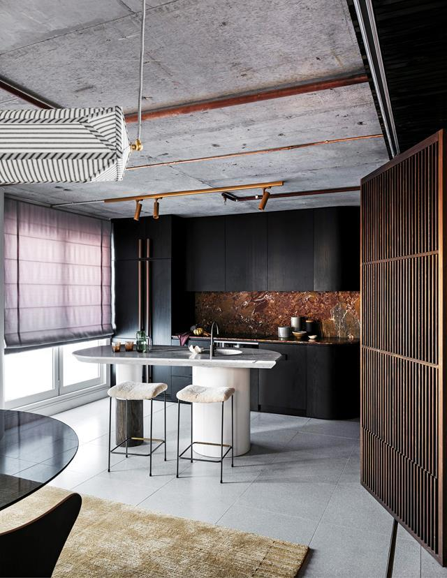 """Everything in this [Sydney apartment](https://www.homestolove.com.au/sydney-penthouse-apartment-by-amber-road-19349