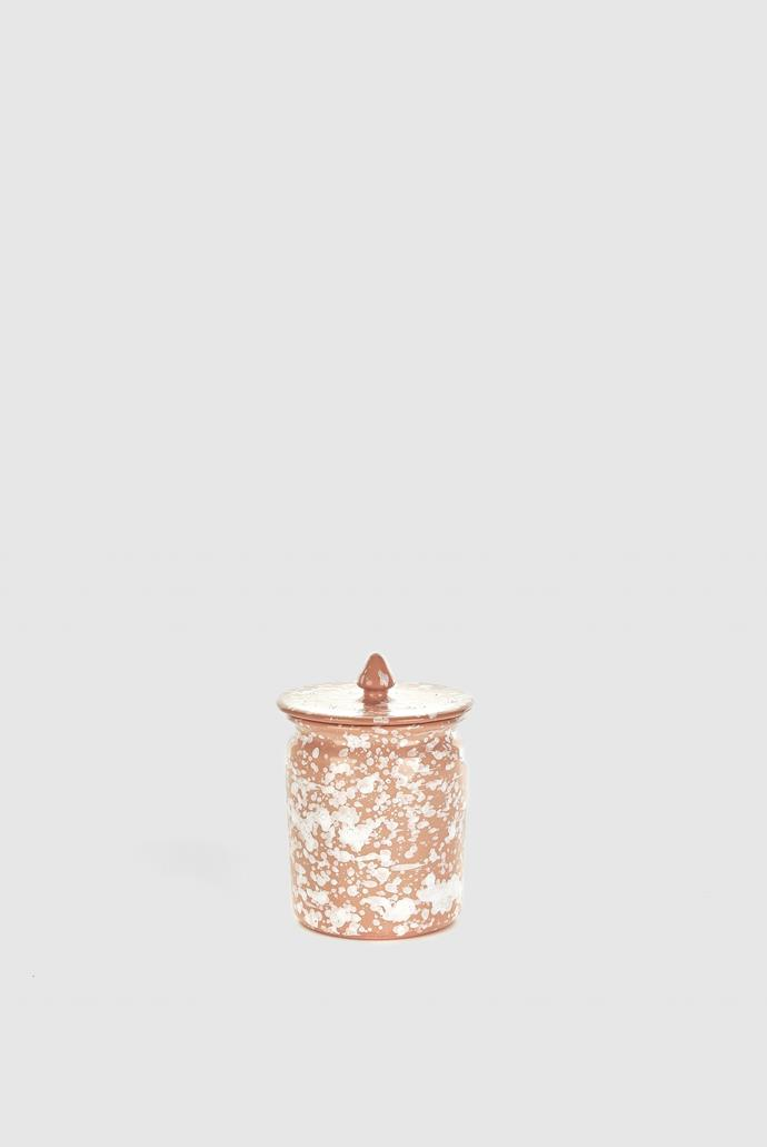 """Jar with Lid - Terracotta/White, $60, [Tigmi Trading](https://tigmitrading.com/collections/objects-ceramics/products/jar-with-lid-terracotta-white