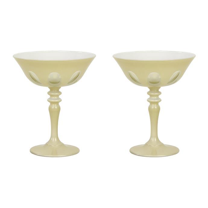 "Sir/Madam 'Rialto' coupe glasses in Creme, $209 for set of 2, [Amara](https://www.amara.com/au/products/rialto-coupe-glass-set-of-2-creme|target=""_blank""|rel=""nofollow"")"